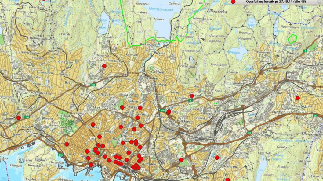 <strong>VOLDTEKTSBØLGE:</strong> Dette er oversikten over samtlige 48 overfallsvoldtekter og forsøk på dette per 27. oktober i år. 35 av 48 er begått av i sentrum av Oslo. Foto: Oslo politidistrikt.