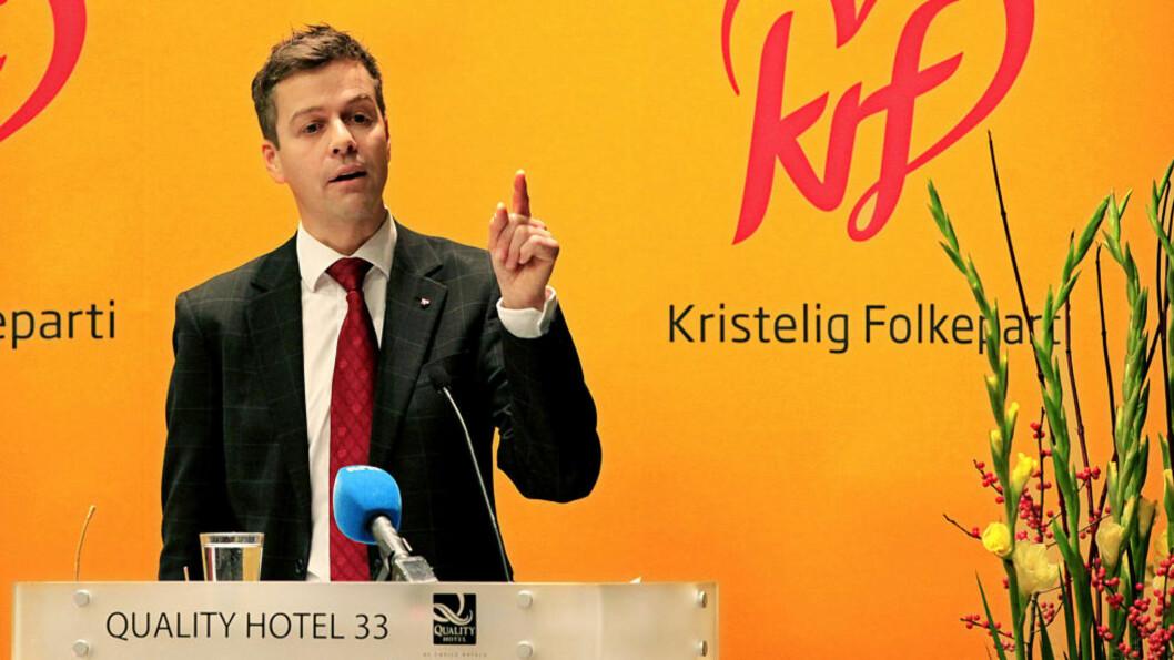 <strong>KREVER TILTAK:</strong> Knut Arild Hareide taler på KrFs landsstyremøte i Oslo. Foto: Jacques Hvistendahl