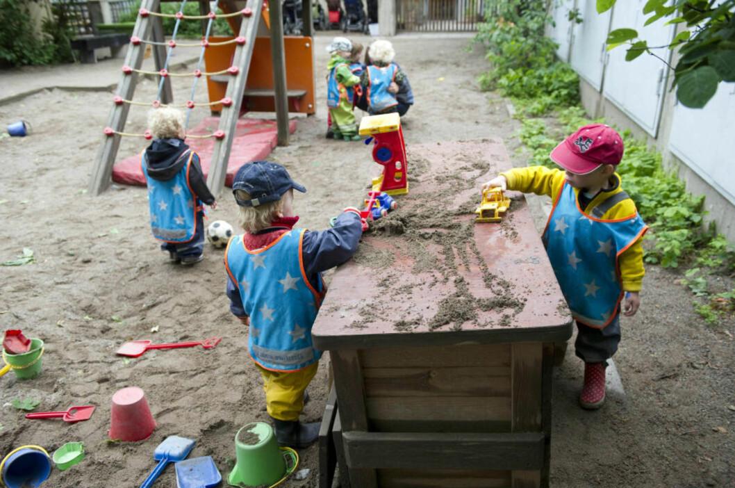 <strong>KOMPISER:</strong> I den kommunale barnehagen Egalia i Stockholm unngår personalet å bruke ord som «han» eller «henne» om barna. De 33 barna tiltales som «kompiser», eller «venner», istedenfor «gutter» og «jenter». Foto: Fredrik Sandberg / AP / Scanpix