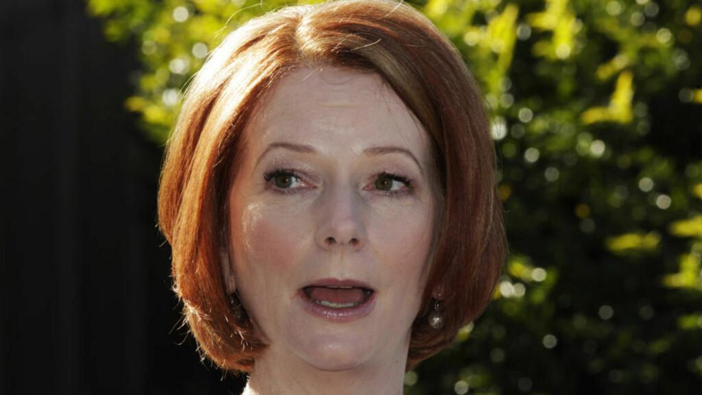SKREMMER BARNA: Australias statsminister Julia Gillard og hennes regjering har gitt ut materiale til landets skoler hvor klimaforandringene fremstilles veldig negativt, og gjør barna redde. Foto: REUTERS/Daniel Munoz