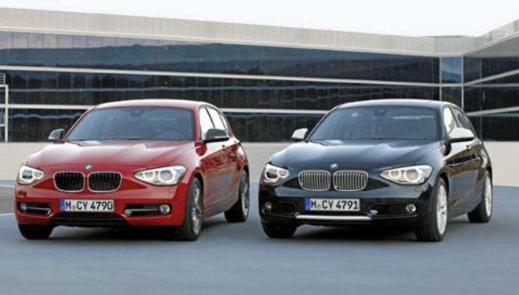 FORSKJELLEN: Her ser du tydelig forskjellen på fronten på Urban Line (t.h.) og Sport Line. Foto: BMW