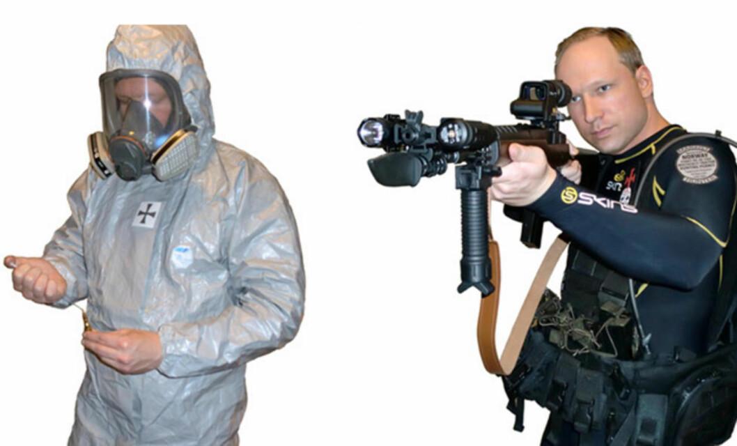 <strong>LA UT BILDER I BOKA:</strong> Anders Behring Breivik har i avhør sagt at det er han som har skrevet boka på 1500 sider. På de siste sidene finnes flere bilder av ham i ulike uniformer. Forfatteren skriver at hvordan han skal ikle seg fiendens uniformer, vanligvis politiuniformer - for å forvirre og få folk til å nøle. Faksimile: Fra boka