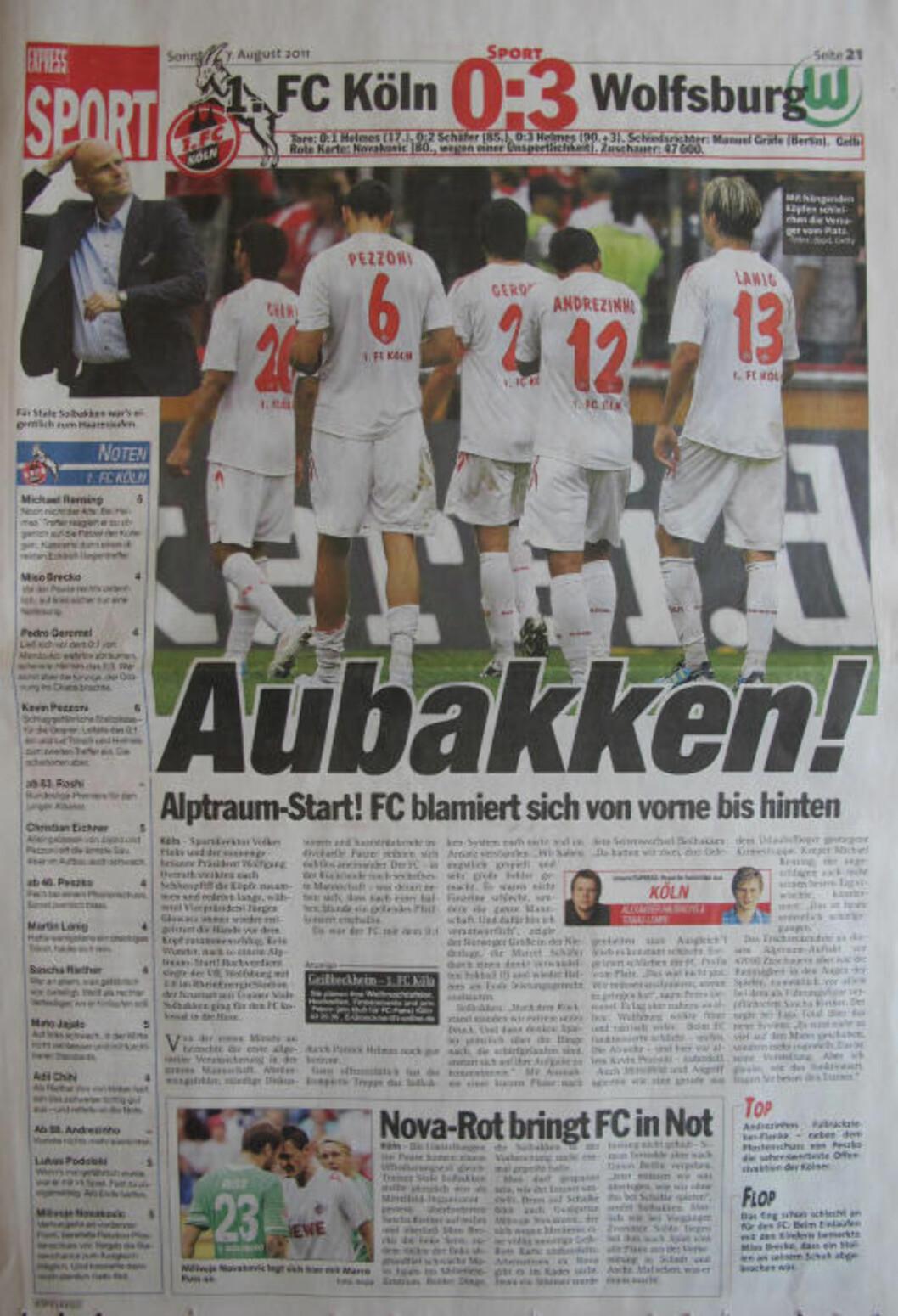 <strong> MARERITTSTART!:</strong>  Den tyske avisa Express med dagens omtale av serieåpningen hjemme i Köln.