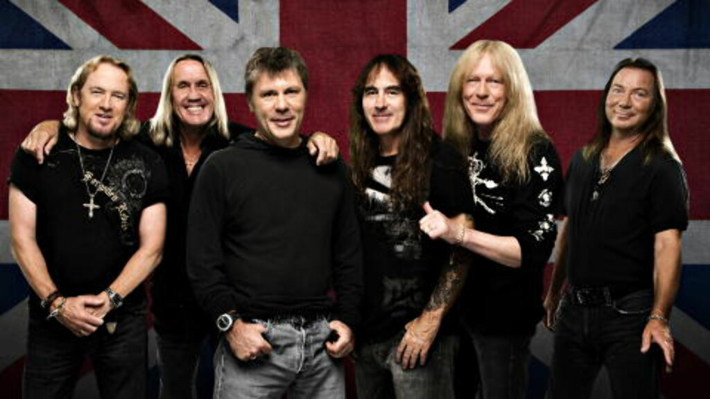 IRON MAIDEN: Adrian Smith, Nicko McBrain, Bruce Dickinson, Steve Harris, Janick Gers og Dave Murray i Iron Maiden. Pressefoto.
