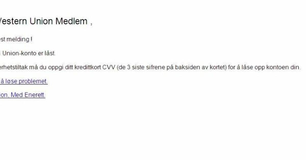 322c0c7e Advarer mot falske e-poster fra «Western Union» - Dagbladet