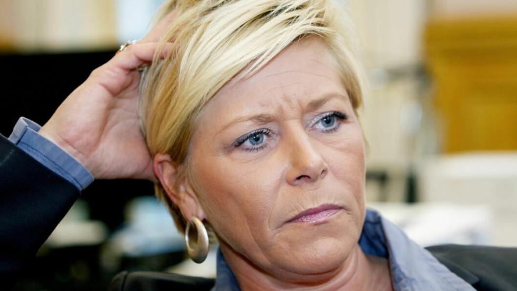 <strong>ULIKE VERDIER:</strong> «Når politikken er upopulær, hjelper det lite med kvinnelige partiledere», skriver kronikk forfatteren. Siv Jensen nevnes som en av tre kvinnelige ledere av høyrepopulistiske partier i Europa. Foto: Scanpix
