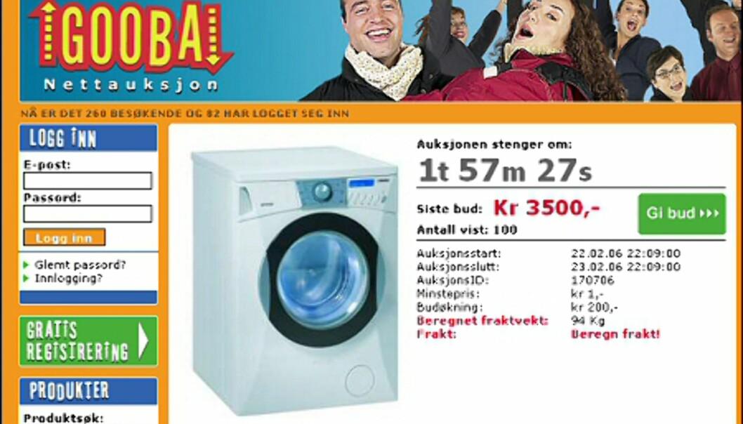 Gorenje vaskemaskin - til 3.500 eller 7.999 kroner? <i>Faksimile fra www.gooba.no</i>