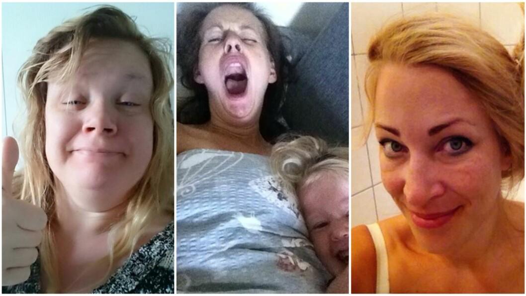 <b>ÆRLIGE SELFIER:</b> Trøtte tryner og lange gjesp - disse mødrene viser hvordan man virkelig ser ut når man står opp om morgenen! Foto: Privat