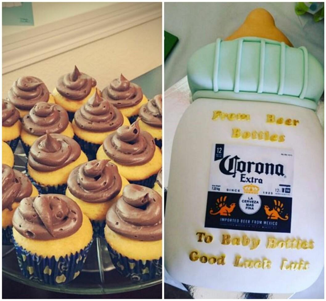 MUFFINS OG KAKER FOR GUTTA: Muffins med «baby bæsj» og en marsipankake formet som en tåteflaske med Corona. Foto: Paula Wilfinger/Crysell