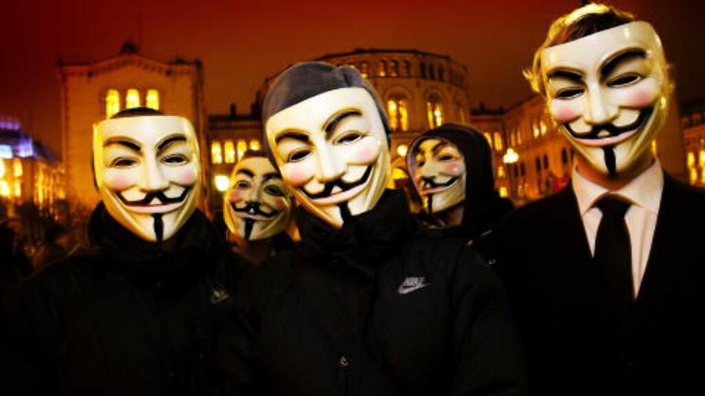 ANONYME: Medlemmer fra Anonymous-bevegelsen i Norge. Foto: Lars Myhren Holand