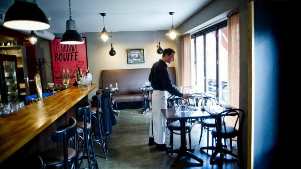 IKKE FULLT: Le Benjamin Bar og Bistro hadde ledige plasser, men næringsministeren og hans kontroversielle middagsfølge måtte snu i døra. Foto: Thomas Rasmus Skaug