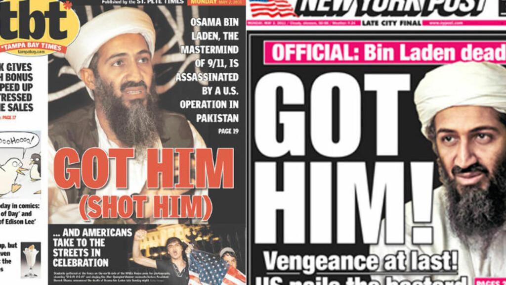 HEVN:  Hevn til slutt, lyder forsiden til New York Post (til venstre), mens Tampa Bay Time slår til med et ordspill.