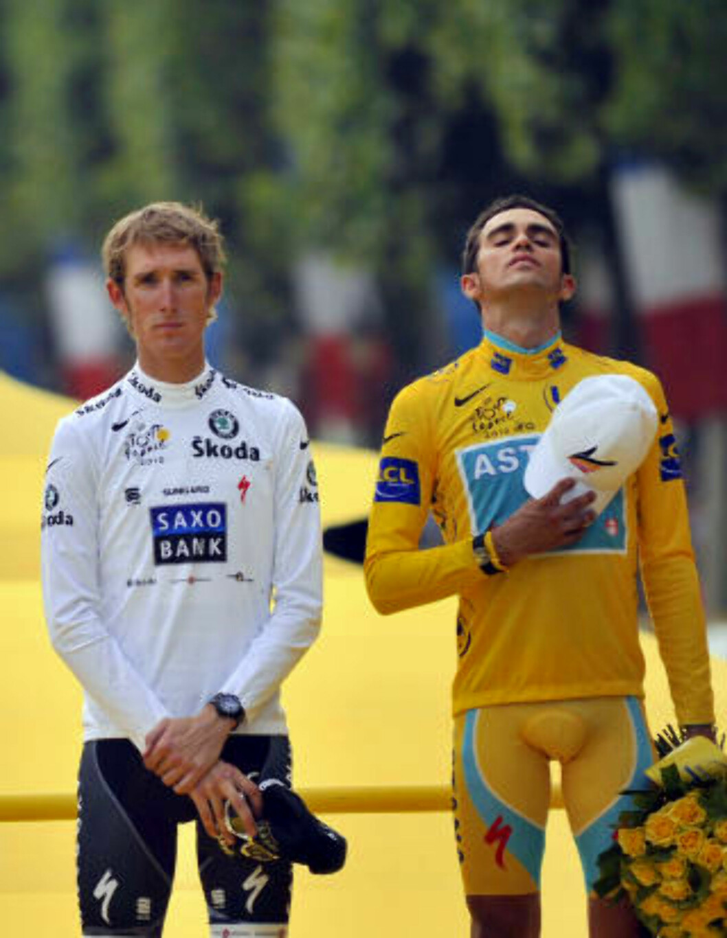 <strong>VANT I FJOR:</strong> Alberto Contador vant fjorårets Tour de France foran Andy Schlek. Foto: AFP Photo / Lionel Bonaventure