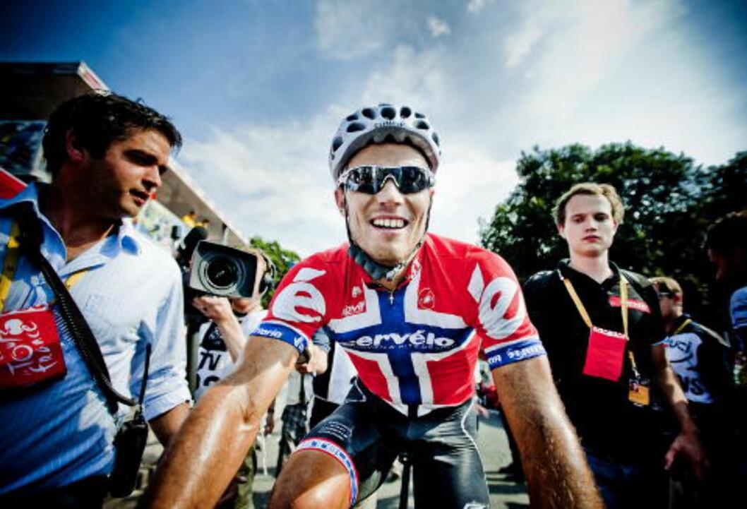 <strong>GLEDER SEG:</strong> Thor Hushovd gleder seg til til Tour de France og målet er å vinne en etappe; Gjerne den første slik at han får sykle i den gule ledertrøya. Her fra fjorårets ritt. Foto: Thomas Rasmus Skaug / Dagbladet