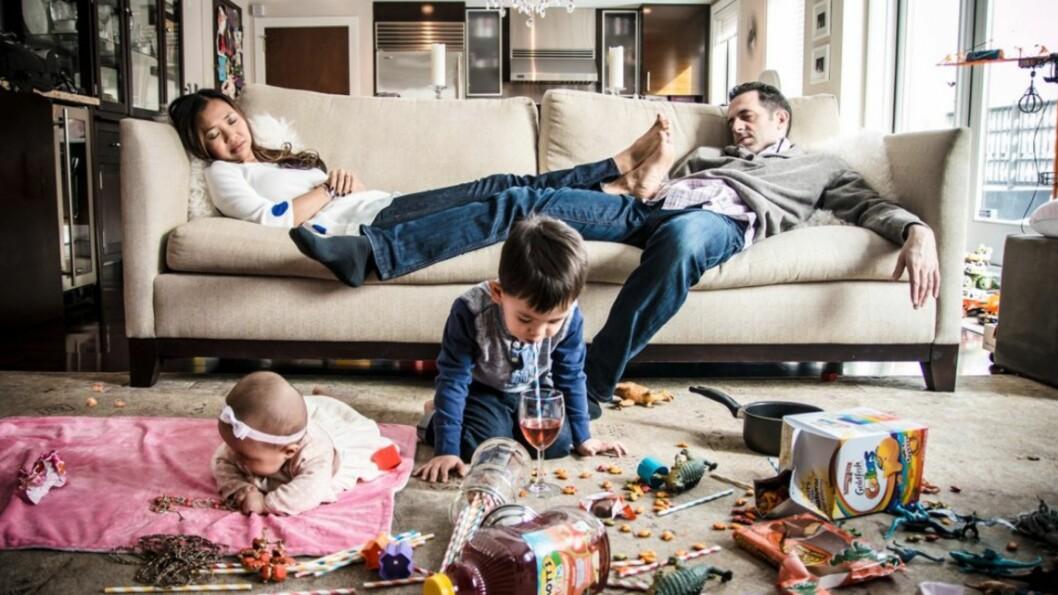 TØFF HVERDAG: Å være småbarnsforeldre har også sine mindre idylliske sider. Foto: Danielle Guenther
