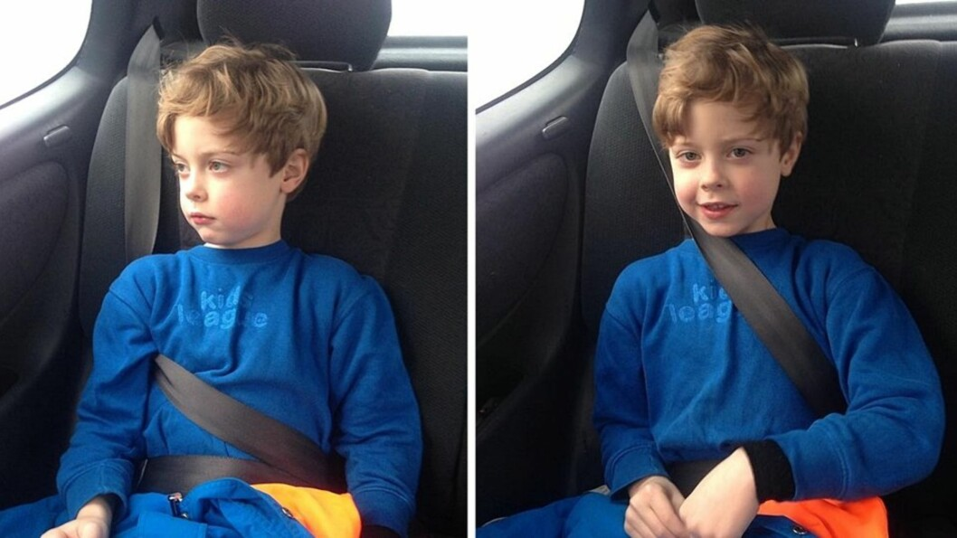 HVA ER RIKTIG? Mange foreldre er usikre på om bilbeltet kan ligge over barnets hals eller ikke. Foto: Mammanett