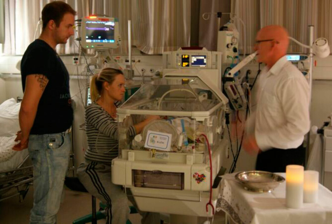 TØFFE MÅNEDER: Liv og mannen levde i flere måneder på sykehuset sammen med Kristian. Foto: privat