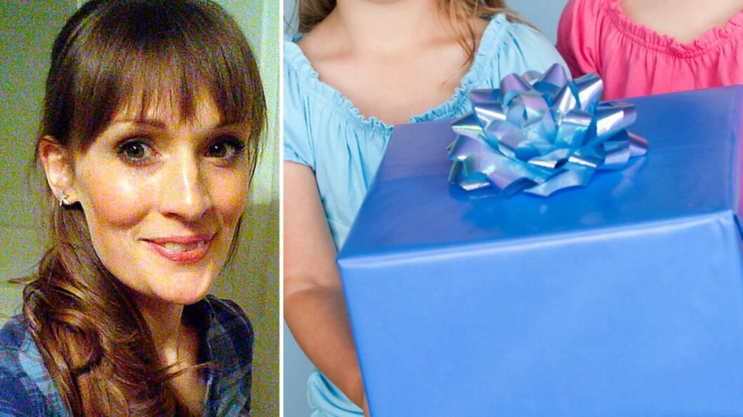 <b>USUNN GAVEGALOPP: </b>Blogger Elin mener det er på tide med maksbeløp på gaver. Foto: privat og NTB Scanpix