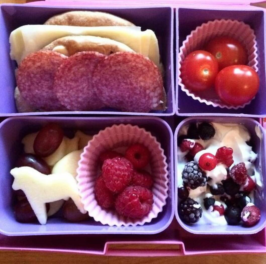 LEGGER FLID I MATPAKKEN: Eksempel på en typisk matpakke som trebarnsmamma Nina lager til barna sine. Foto: Privat