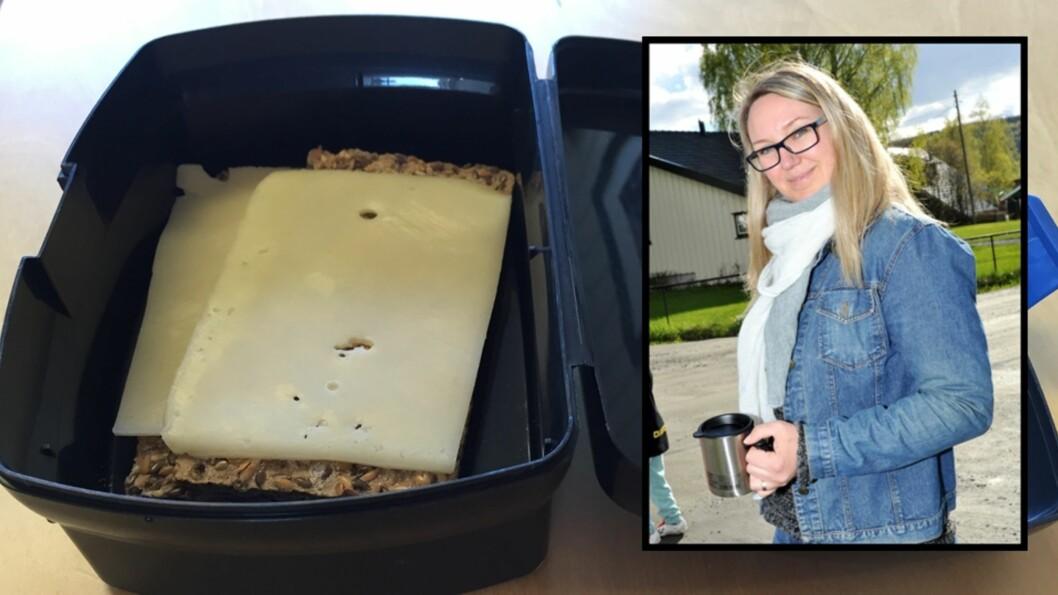 <b>FORSVARER HVERDAGSMATPAKKEN:</b> To skiver brød med gulost er mer enn godt nok. Mammablogger Marte mener trenden med jålete matpakker har tatt helt av. Foto: Privat