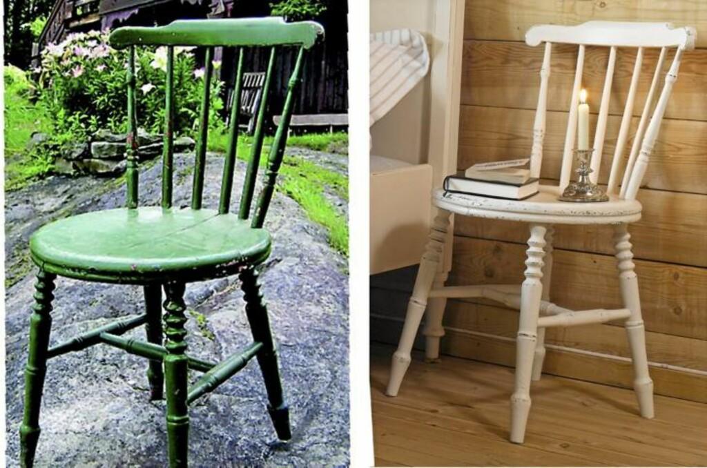 FØR OG ETTER: En gammel og sliten stol kan bli ny med litt sandpapir og maling  Foto: Per Erik Jæger og privat
