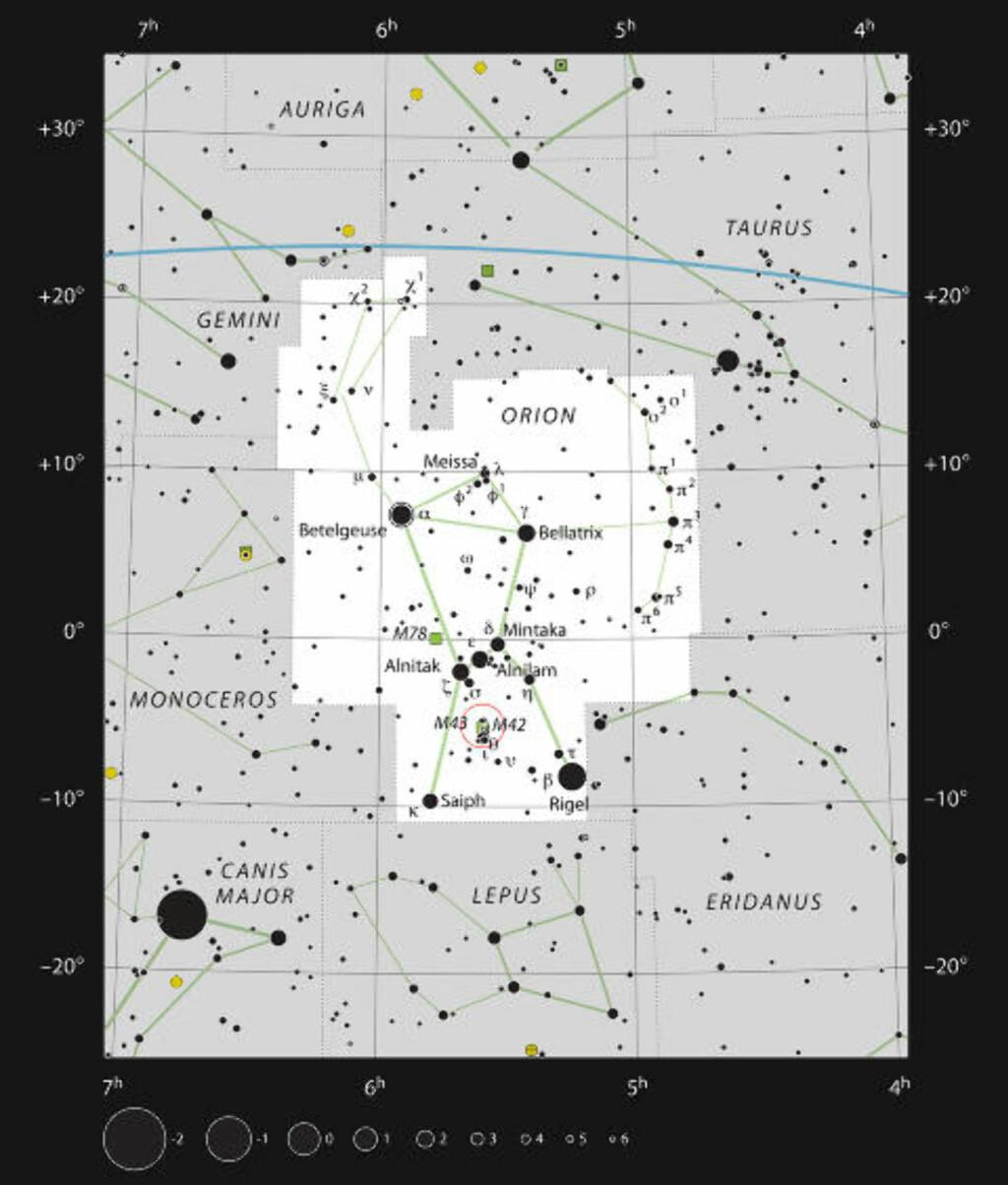GODT SYNLIG: Denne figuren viser plasseringen av Orion Nebula i det berømte stjernebildet Orion. Kartet viser de fleste av stjernene er synlige for det blotte øyet under gode forhold. Orion Nebula seg selv er markert med en rød sirkel på bildet. Foto: ESO, IAU and Sky & Telescope