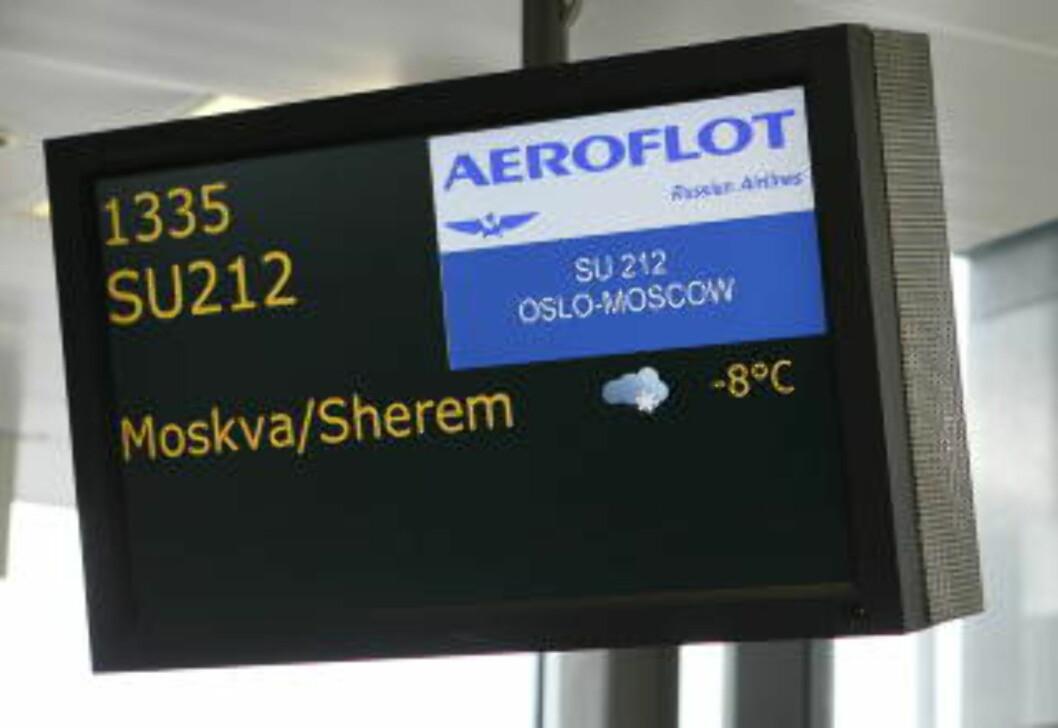 <strong>1335:</strong> Med dette flyet skal Maria Amelie reise til Russland. Foto: Heiko Junge / Scanpix