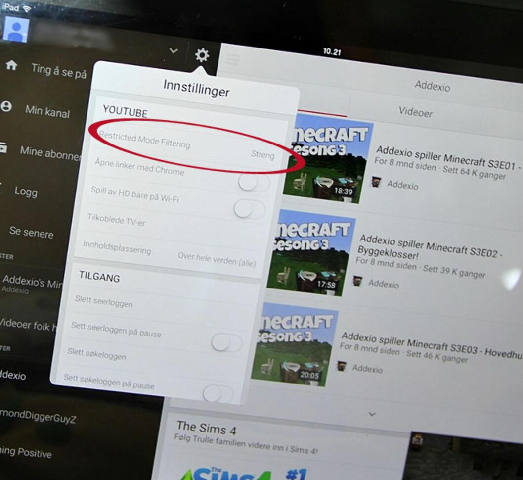 OGSÅ MULIG PÅ IPAD: Ved å gå inn på innstillinger i iPad-appen, kan du endre «Restricted Mode Filtering» til «streng». Foto: Mammanett
