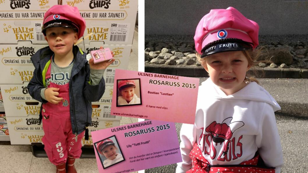 <b>EGNE RUSSEKORT OG RUSSEKLÆR:</b> I denne barnehagen er det tradisjon at skolestarterne får være rosaruss. Foto: Privat