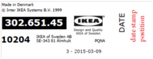 PRODUKTMERKE: Datostemplingen står til høyre på dette merket. Foto: IKEA