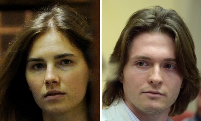 BLE DØMT: Amanda Fox og hennes daværende kjæreste, italienske Raffaele Sollecito, ble begge dømt for mordet både i 2007, og i 2014. Foto: AFP/NTB Scanpix.