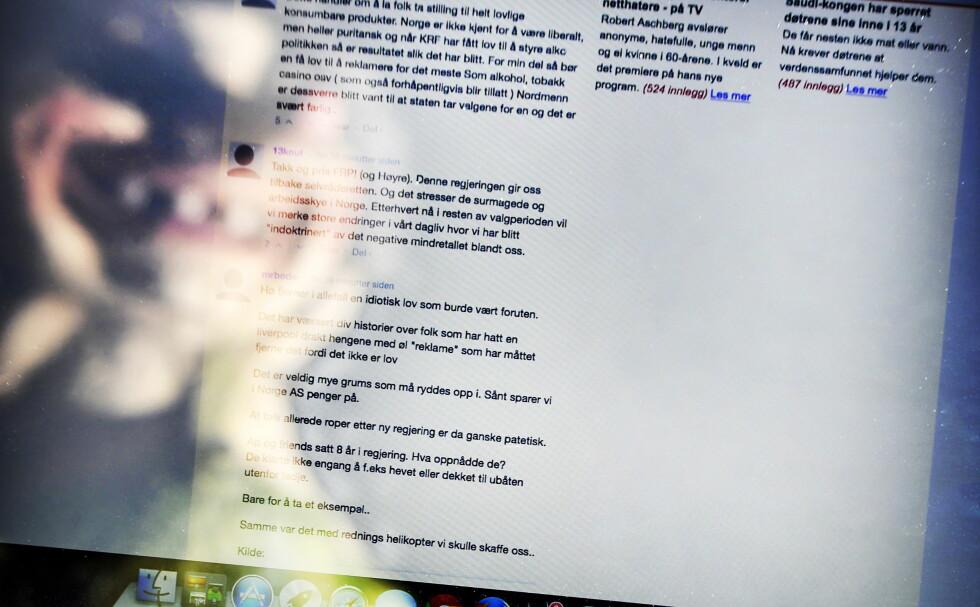 UT I SOLA: - Lenge snakka vi om anonyme nettroll som spydde ut eider og galle. Dei er ikkje lenger anonyme. No opptrer dei i profilar med fullt namn. Gjerne med bilde. Besteforeldre, tanter, fetrar, vennar, naboar, kollegaer, skriver artikkelforfatteren. Foto: Dagbladet