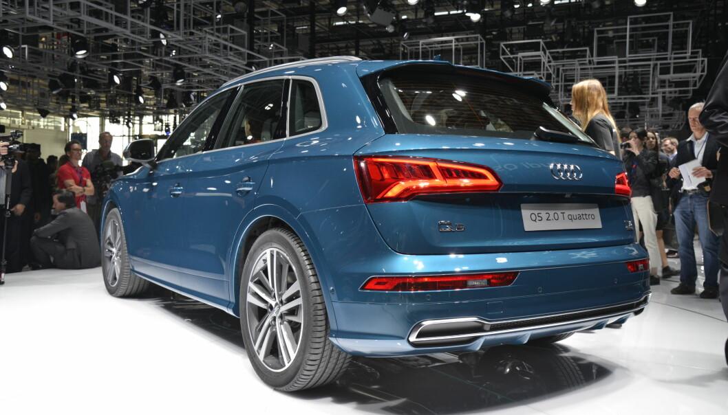 <strong>GJENKJENNELIG:</strong> Heller ikke sett bakfra er det noen tvil om at nye Q5 er en Audi. Foto: Jamieson Pothecary