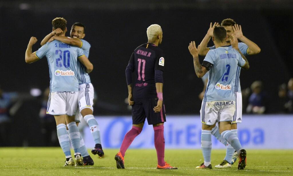 SJOKKÅPNING: Celta Vigo herjet med Barcelona før pause og ledet 3-0 allerede etter 33 minutter. Til slutt endte det 4-3 til de lyseblå. Foto: AFP PHOTO / MIGUEL RIOPA