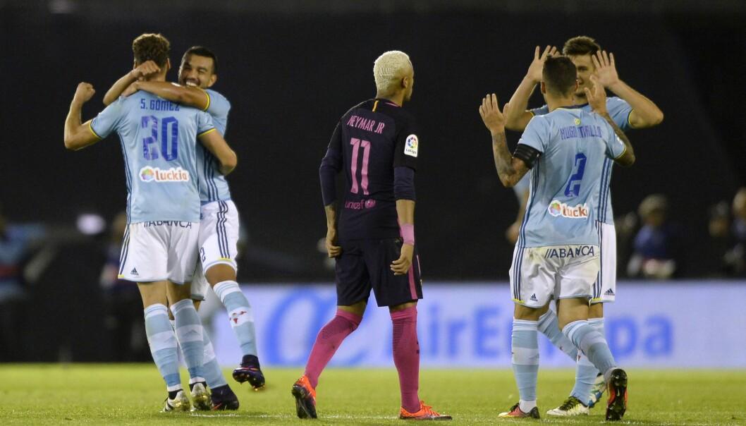<strong>SJOKKÅPNING:</strong> Celta Vigo herjet med Barcelona før pause og ledet 3-0 allerede etter 33 minutter. Til slutt endte det 4-3 til de lyseblå. Foto: AFP PHOTO / MIGUEL RIOPA