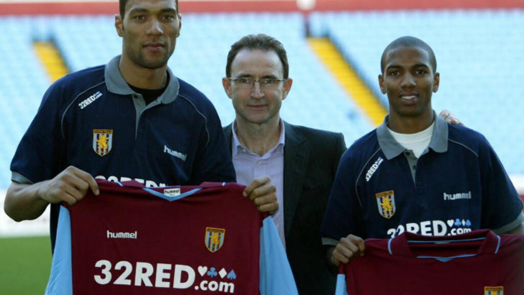 TRE ÅR I VILLA: John Carew var toppscorer for Martin O'Neill i Aston Villa hver eneste sesong. Her med vingen Ashley Young (t.h), som også ble kjøpt inn januar 2007. Foto:AFP/PAUL ELLIS