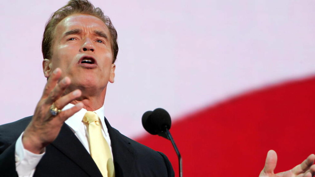 New York, 20040831. Valg 2004. Valgkamp. Californias guvernør Arnold Schwarzenegger taler på Republican National Convention, RNC. Republikansk partimøte. Grand Old Party - GOP.  Foto: Ørjan F. Ellingvåg/ Dagbladet/ Corbis Sygma