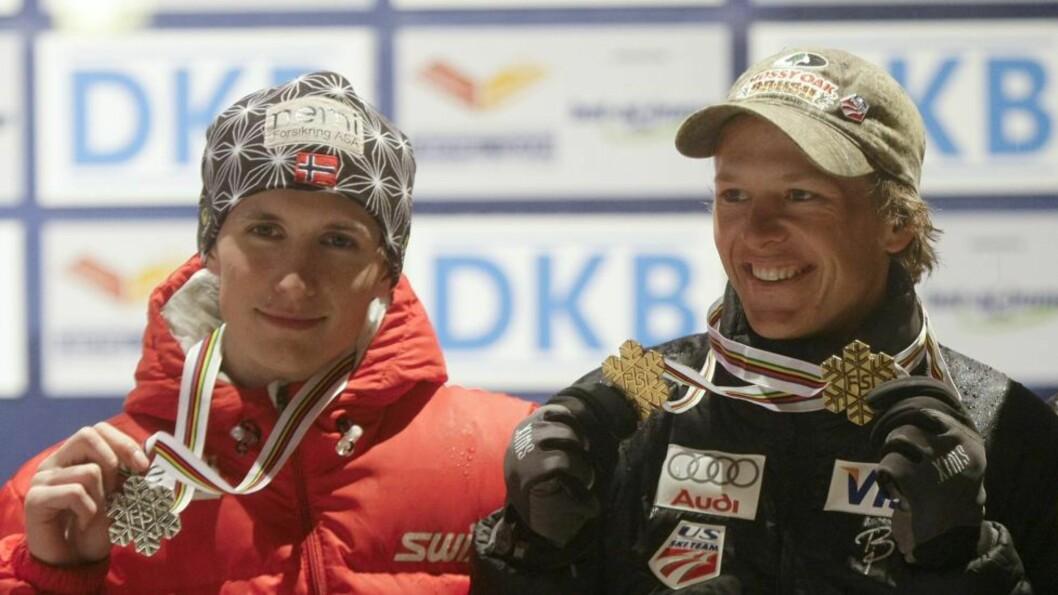<strong>NEST BEST:</strong> Todd Lodwick vant i Liberec for to år siden, foran Jan Schmid (t.v). FOto: REUTERS/Leonhard Foeger