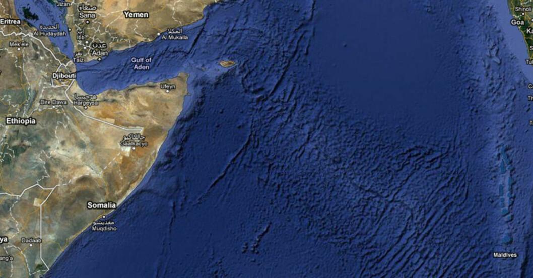 <strong>KAPRET:</strong> Kapringen skal ha funnet sted i Det indiske hav utenfor kysten av Somalia. Foto: Google Maps
