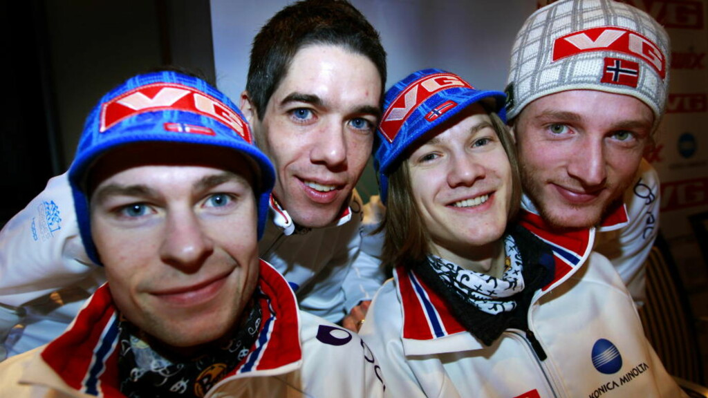 FEM MINUS EN: Anders Jacobsen (f.v.), Anders Bardal, Tom Hilde og Johan Remen Evensen hopper for Norge i morgen ettermiddag. Bjørn Einar Romøren fikk drømmen knust da laget ble tatt ut.Foto: Lise Åserud / Scanpix