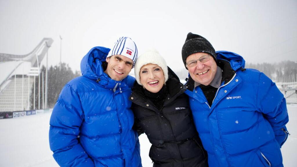 KAN MISTE VM: NRK-profilene Thomas Alsgaard, Karen-Marie Ellefsen og Arne Scheie. Foto: Thomas Winje Øijord, Scanpix