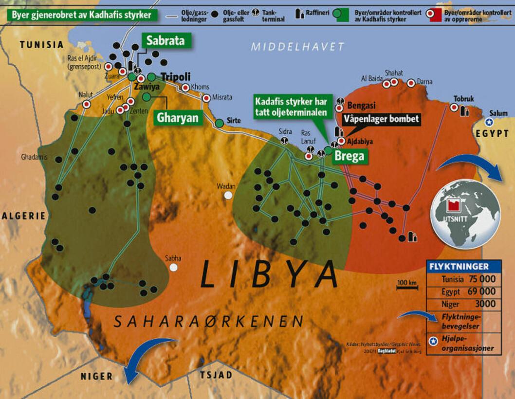 KAMPEN OM LIBYA: Denne grafikken viser opprørernes kamp mot Muammar Kadhafi. Grafikk: Kjell Erik Berg/Dagbladet