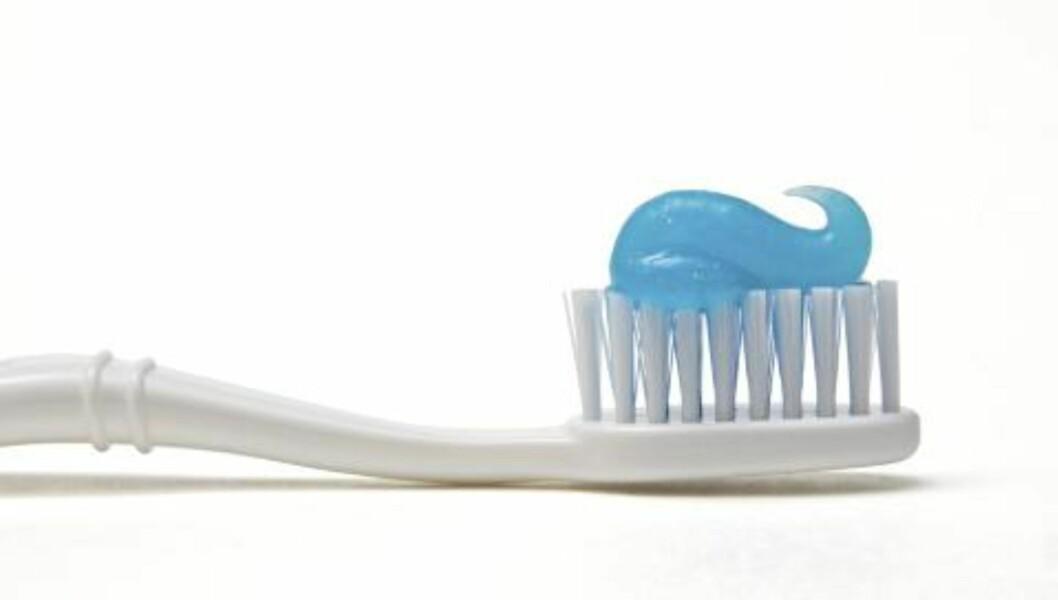 GNI DET INN: Tannkrem kan inneholde triklosan, som kan gi resistens mot antibiotika. FOTO: iStockphoto