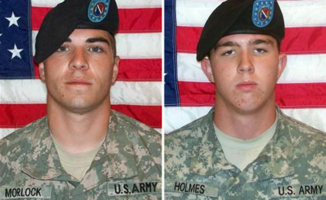 <strong>SIKTET:</strong> Jeremy Morlock og Andrew Holmes er blant soldatene som skal ha deltatt i å drepe sivile afghanere. Foto: U.S. ARMY / AFP / SCANPIX