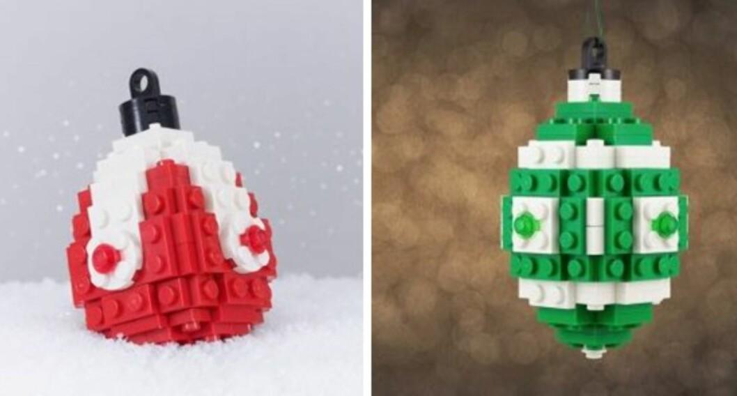 JULEPYNT AV LEGO: Sett av en liten time eller to til å bygge julepynten i år. Foto: Chris McVeigh