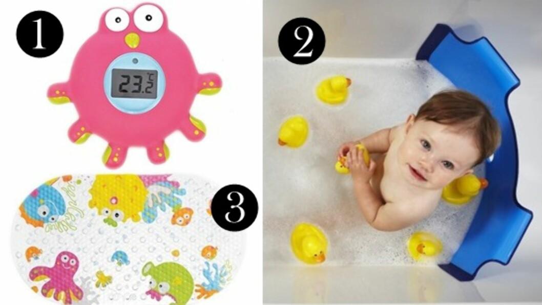 Sikkerhet i badet: 1: Temperaturmåler fra Teddykompaniet. 2: Badekardeler fra BabyDam. 3: Antisklimatte fra Teddykompaniet. Foto: Produsentene