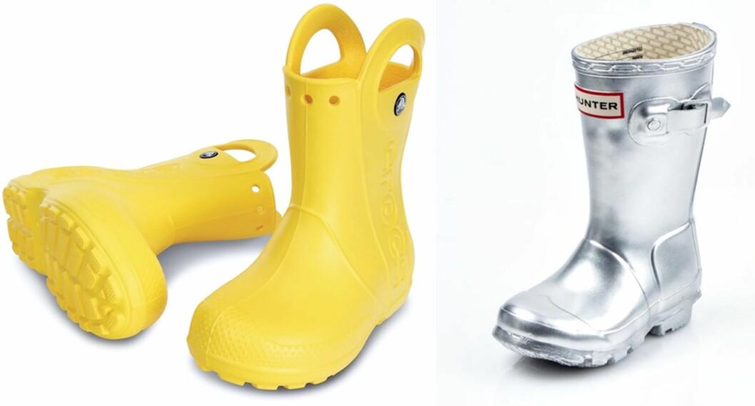 <strong>KNALLFARGER:</strong> Gule Crocs Handle It Rain Boots kr 349,- hos Lekmer.no og Hunter Original Kids støvler i sølv kr 629,- hos Sportamore.no Foto: Produsentene