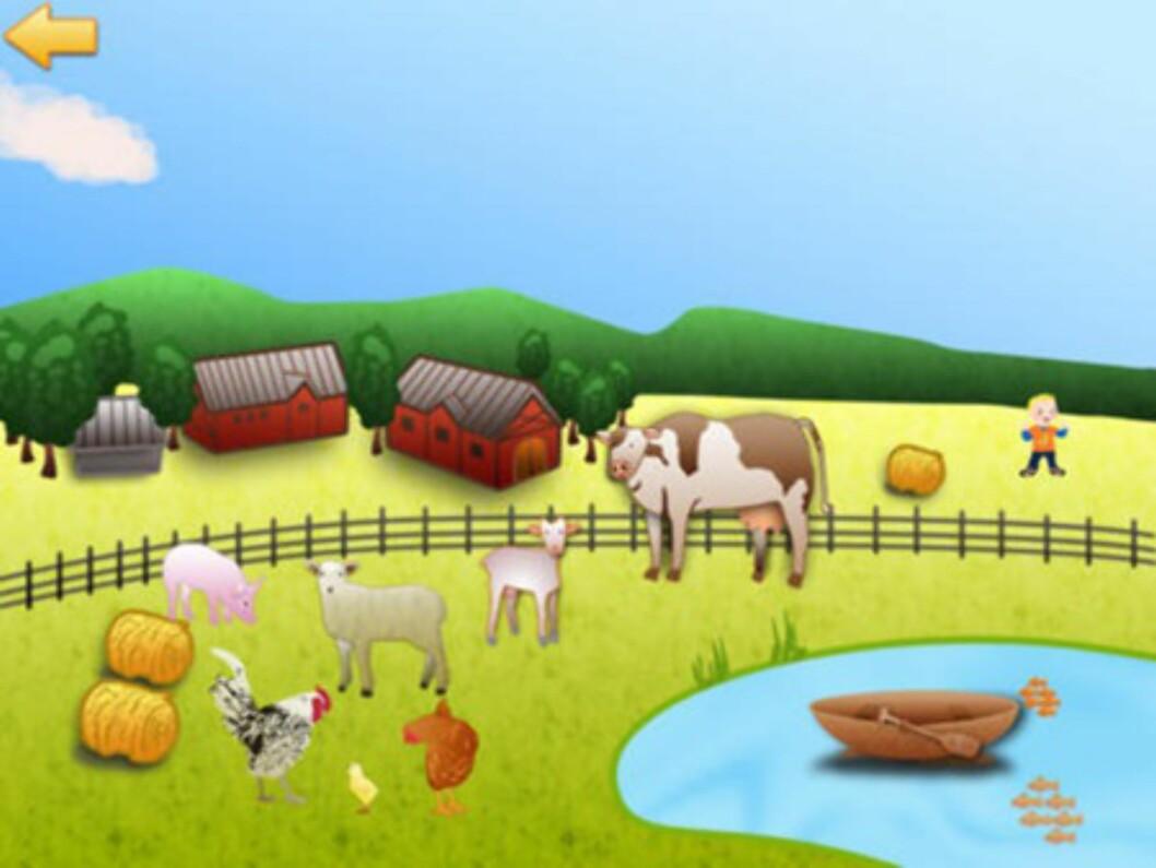 Lær med Jacob: Her får barna melke kyr og høste korn. Foto: iTunes