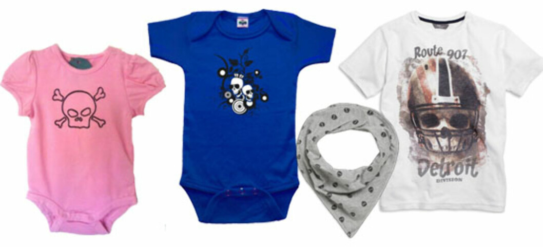 HODESKALLER: Rosa body (kr 159, barneloftet.no), Blå body (kr 125, LittleDareDevil.no), Grått skjerf (kr 49,50, Lindex), T-skjorte med hodeskalle (kr 49,50, Lindex).