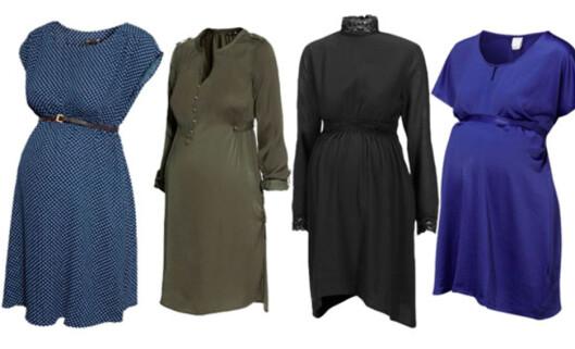 Trendy og gravid: Blå kjole 299,- H&M   Grønn Kjole 249,- H&M   Sort kjole med hals 899,- ELLOS   Blå kjole med silkebånd 299,- ELLOS